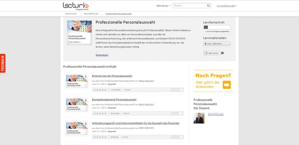 Überblick Onlinekurs Professionelle Personalauswahl Lecturio