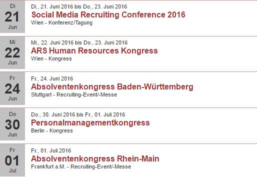 Veranstaltungen 2. Hälfte Juni 2016