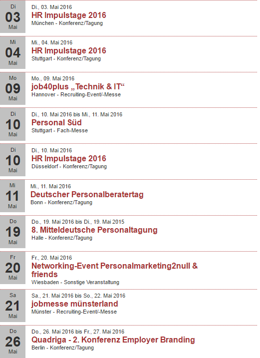Veranstaltungen Mai 2016