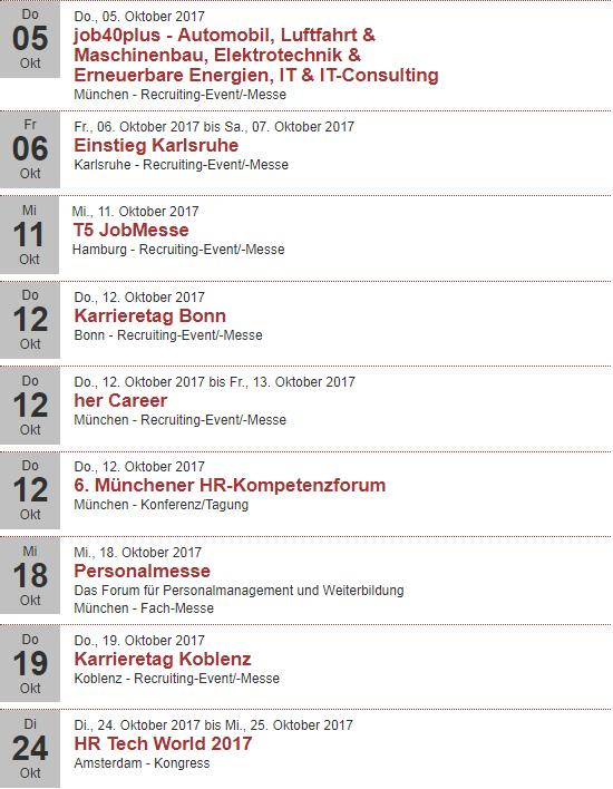 Eventkalender auf Rekrutierungserfolg.de Oktober 2017