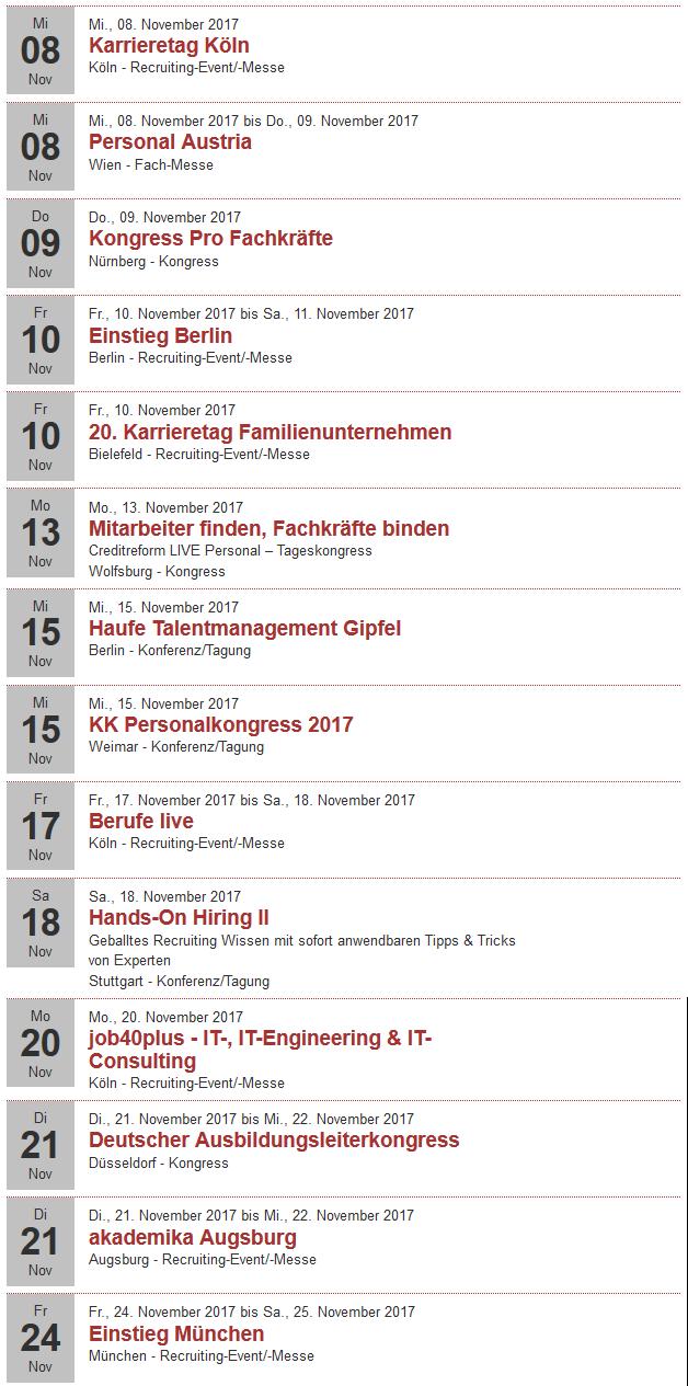 Recruiting Events im November 2017